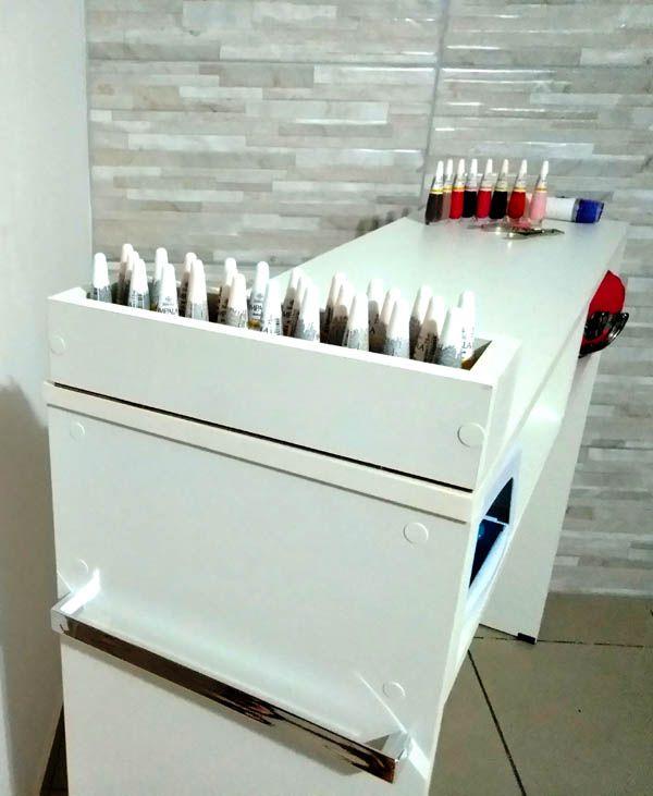 Mesa P/ Manicure De 1 Metro C/1 Compartimento P/esmaltes  - Virtude Móveis