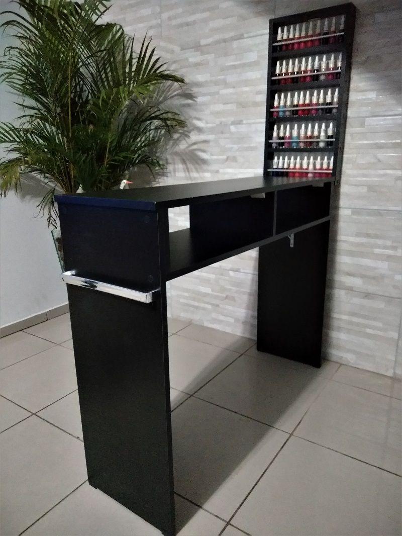 Mesa P/ Manicure De 1 Metro MDF PRETO C/alças  - Virtude Móveis