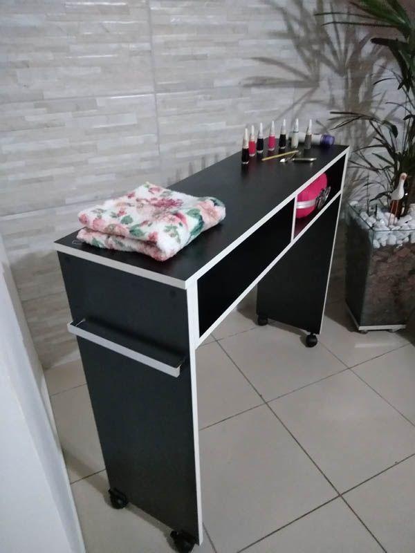 Mesa P/ Manicure De 1 Metro Mdf PRETO Com RODINHAS  - Virtude Móveis