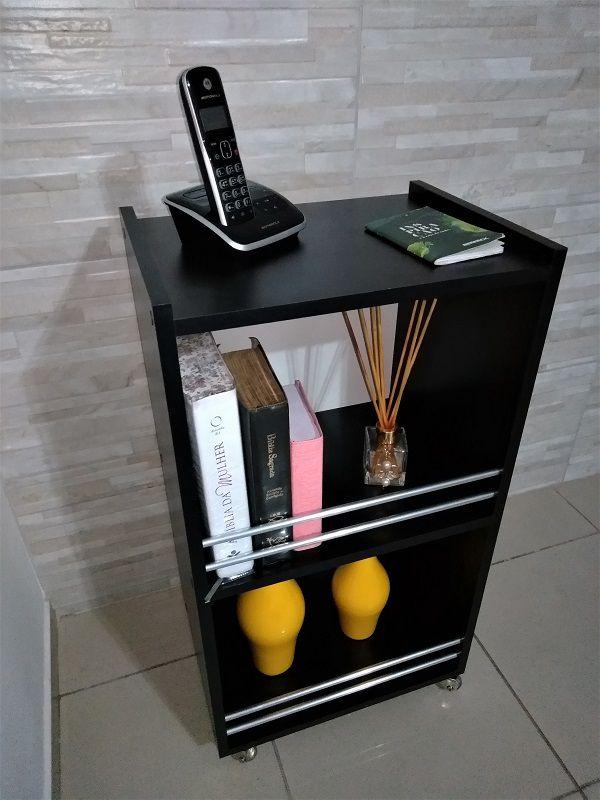 Mesinha de canto lateral apoio p/Telefone/livro/enfeites/revistas Mdf Preto  - Virtude Móveis