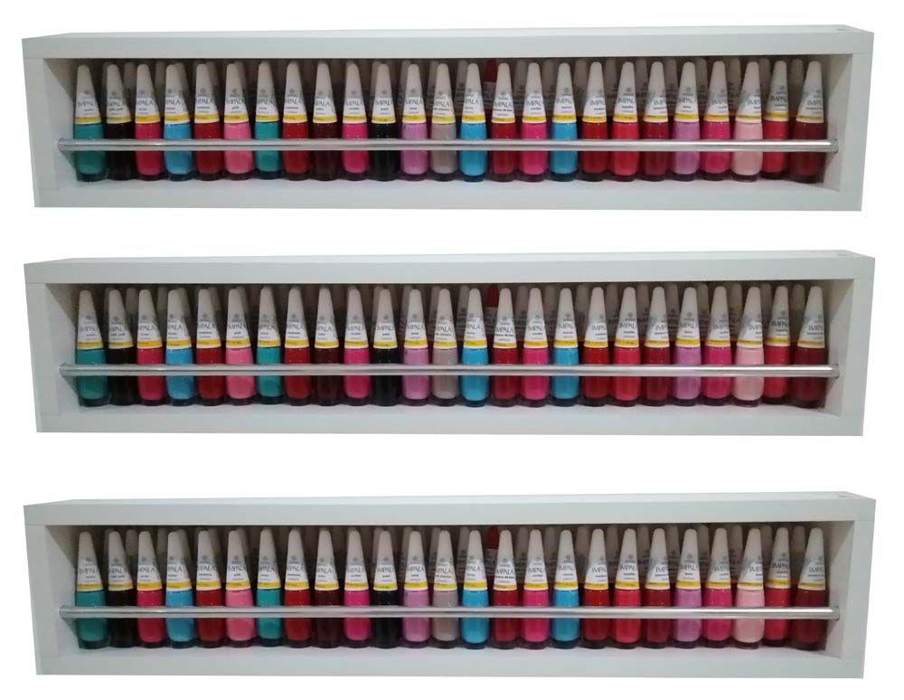 Nichos Expositor De Esmaltes 60x13x10 c/ barra de alumínio  - Virtude Móveis