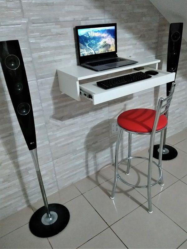 Suporte suspenso para monitor,com gaveta para teclado e mouse  - Virtude Móveis