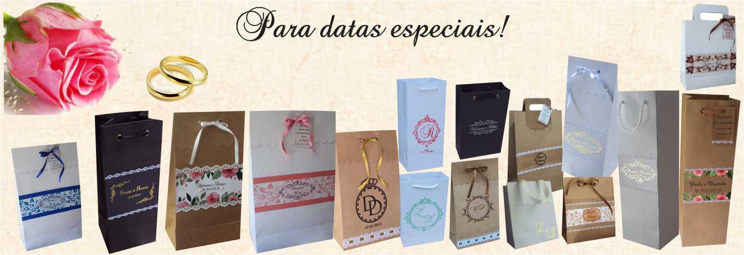 Sacolas e embalagens exclusivas para casamentos e festas