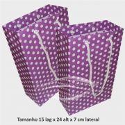 Sacola de papel  (15x24x7 cm) lilás de bolinha branca - 10 unidades