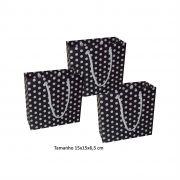 Sacola de papel Pequena (15x15x6,5 cm) preta de bolinha branca - 10 unidades