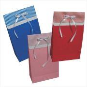 Saco de papel colorido com aba listrada tam (15x24x7 cm) 10 unidades