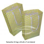 Sacola de papel  (15x24x7 cm) amarela de bolinha branca - 10 unidades