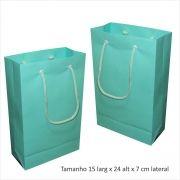 Sacola de papel (15x24x7 cm) pequena - cor azul tiffany - 10 unidades