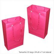 Sacola de papel (15x24x7 cm) pequena - pink - 10 unidades