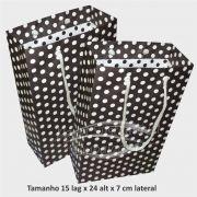Sacola de papel  (15x24x7 cm) preta de bolinha branca - 10 unidades