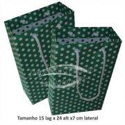 Sacola de papel  (15x24x7 cm) verde de bolinha branca - 10 unidades