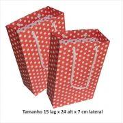 Sacola de papel  (15x24x7 cm) vermelha de bolinha branca - 10 unidades