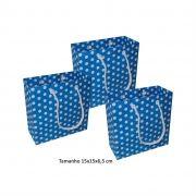 Sacola de papel Pequena (15x15x6,5 cm) azul de bolinha branca - 10 unidades