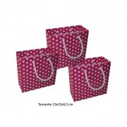 Sacola de papel Pequena (15x15x6,5 cm) pink de bolinha branca - 10 unidades
