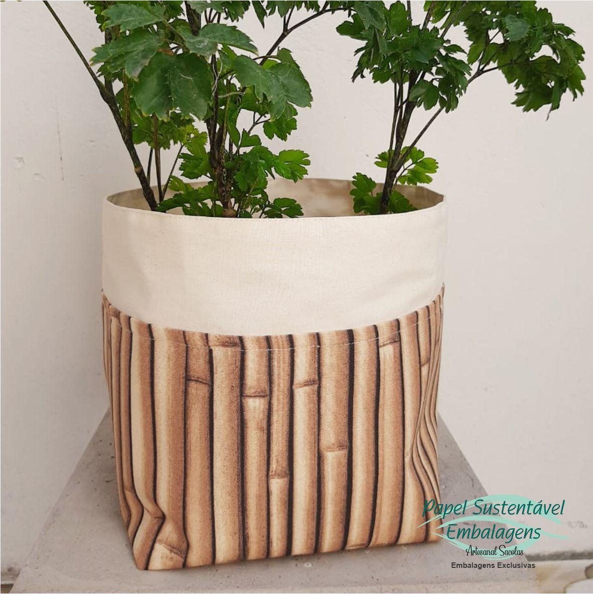 Cachepôs de algodão cru com detalhe estampa bambu - trio