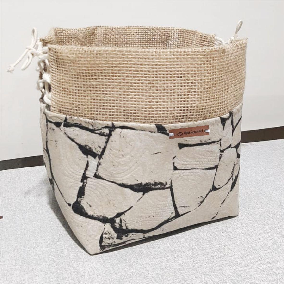Cachepôs de gorgurão estampa pedra e detalhe de juta - dupla (M e G)