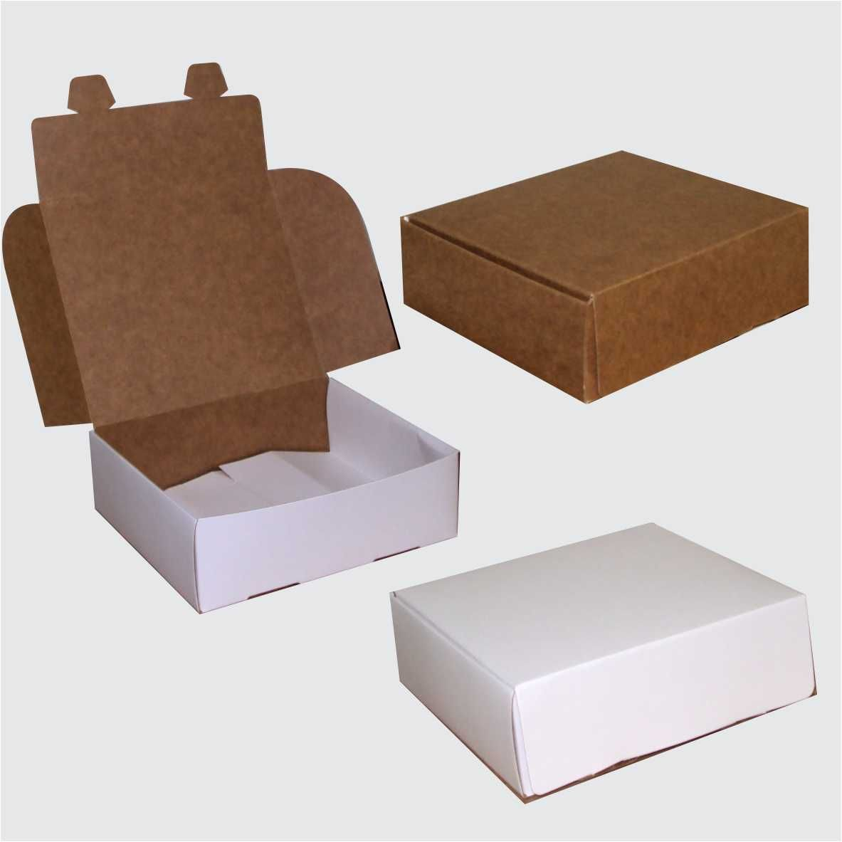 Caixa de papel pequena  branca ou kraft (10,5x9,5x3,5 cm) - 10 unidades