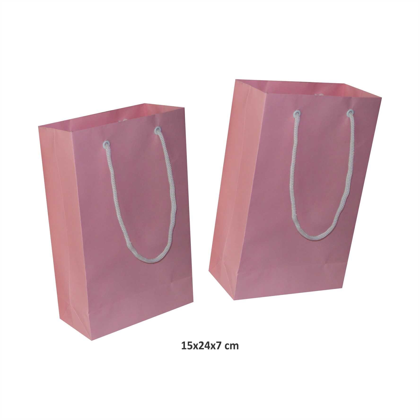 Sacola de papel (15x24x7 cm) pequena - cor rosa - 10 unidades