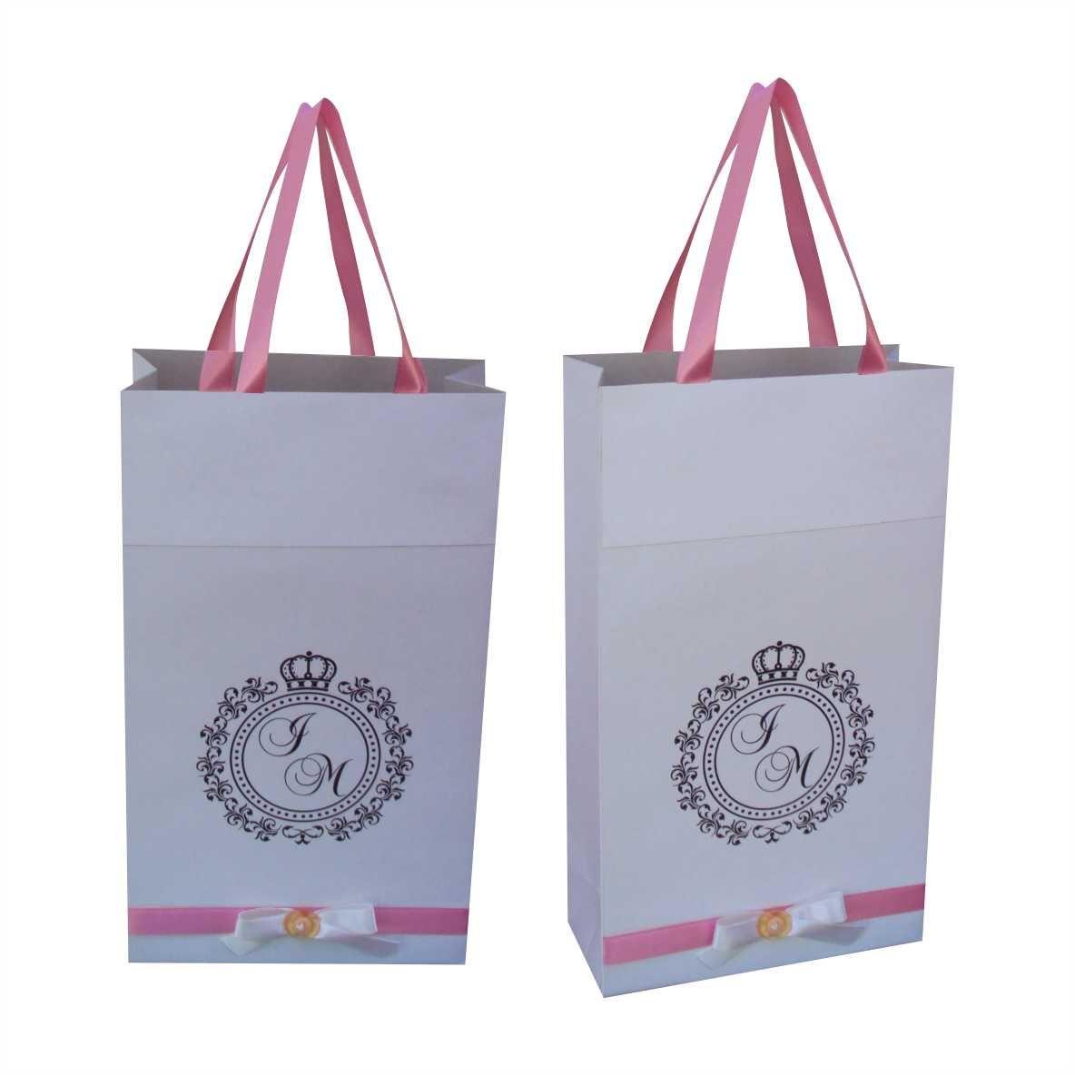 Sacola branca para chinelo com alça de cetim - personalizada com brasão noivos - 10 unidades