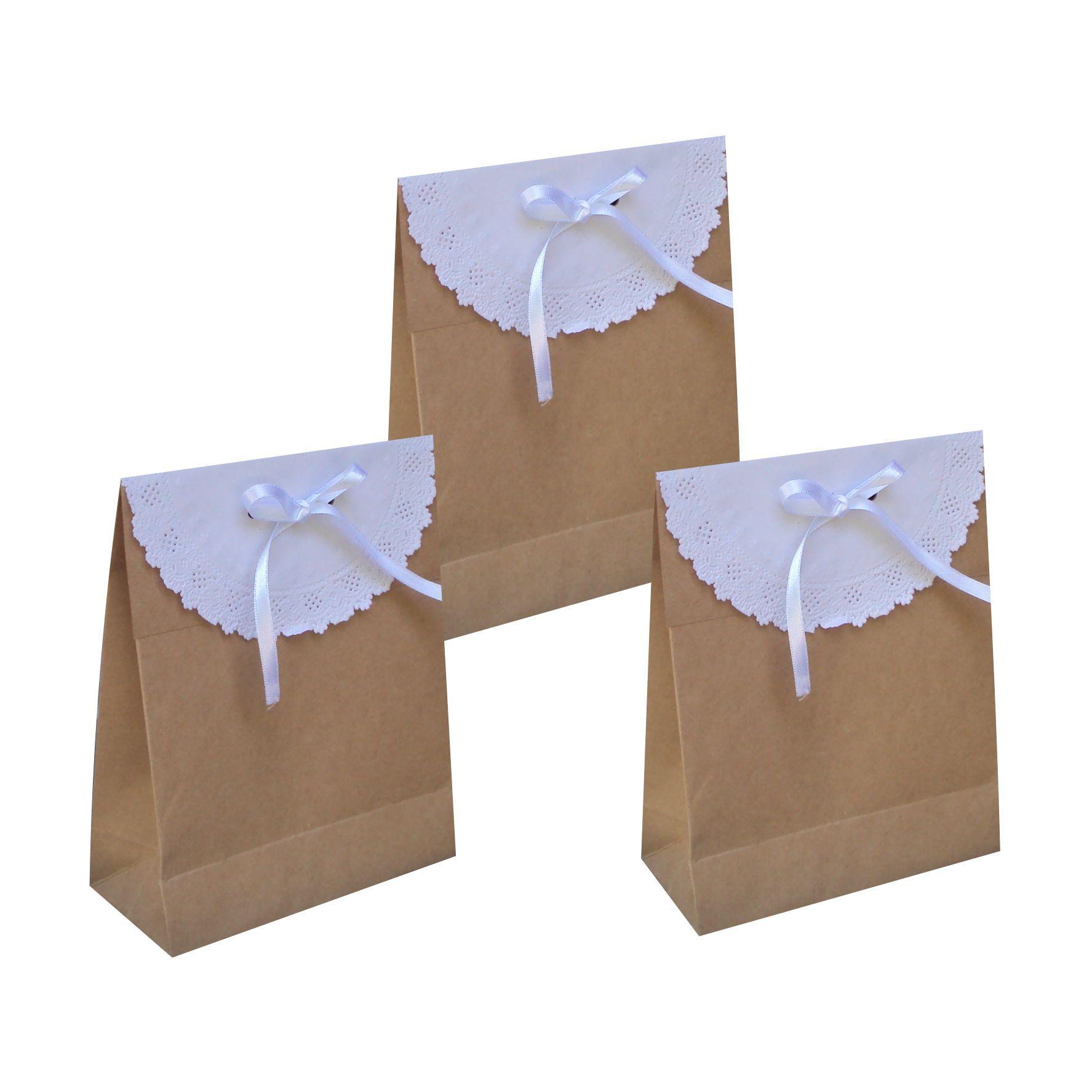 Saco kraft pequeno com papel rendado (15x17x6,5 cm) - cor pardo - 10 unidades