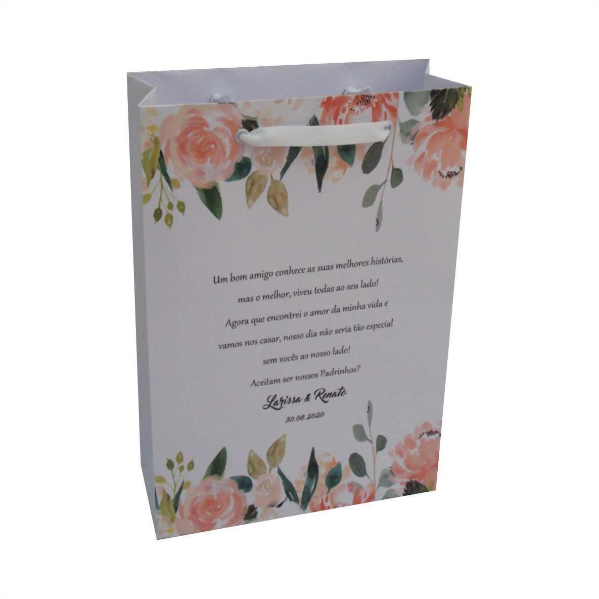 Sacola branca com personalização floral  (18x29x8cm) 20unidades