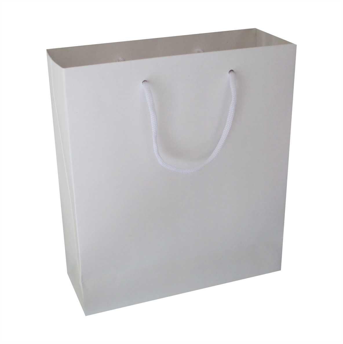 Sacola branca media (22x24x8 cm) - 10 unidades