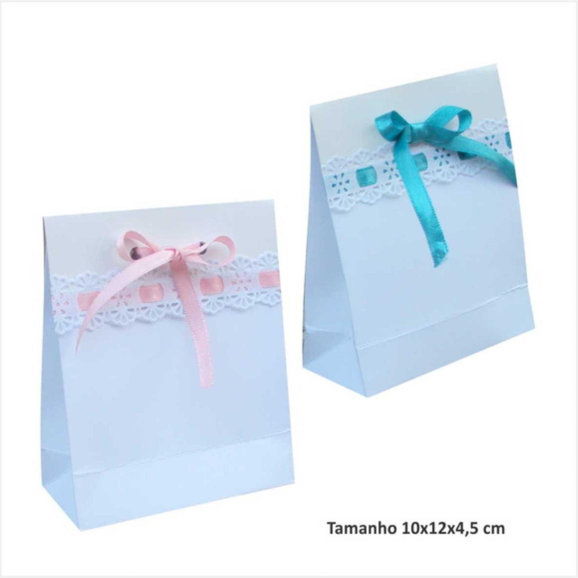 Sacola branca mini para lembrancinhas - com bordado (10x12x4,5 cm) - 10 unidades