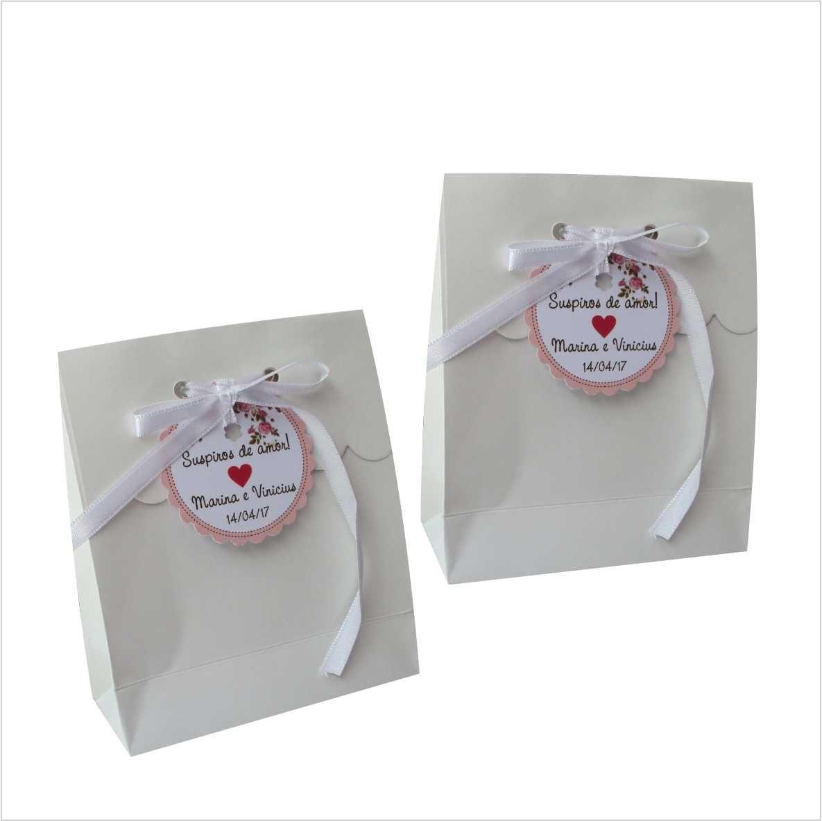 Sacola branca mini para suspiros (10x12x4,5 cm) - 10 unidades