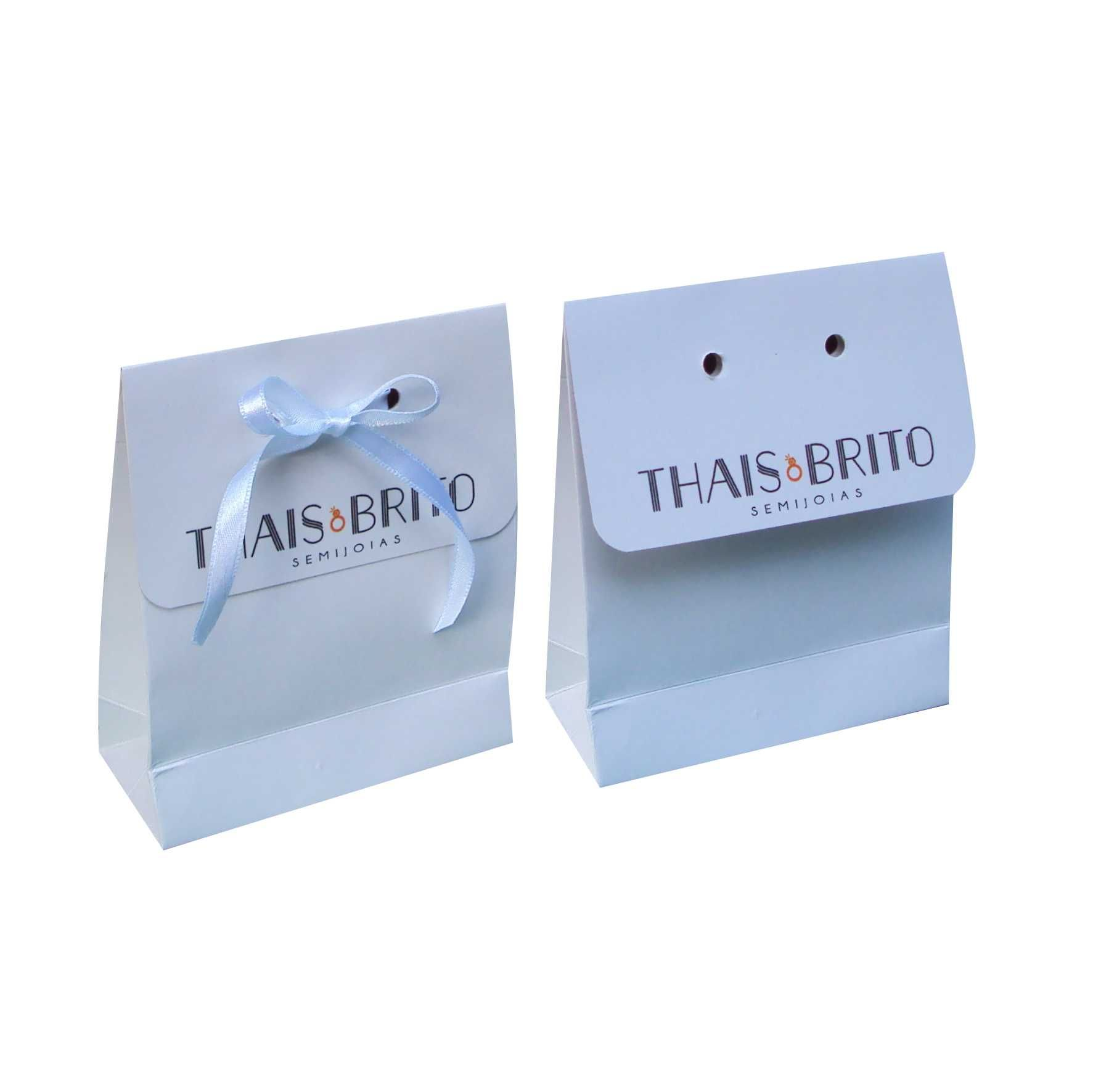 Sacola branca mini - personalizada para bijuterias (10x12x4,5 cm) 100 unidades