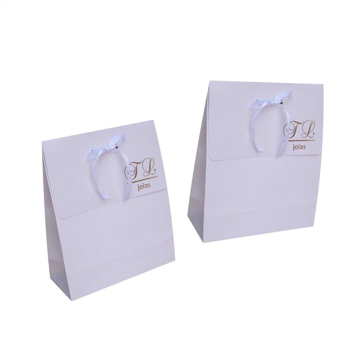 Sacola branca pequena - personalizada para bijuterias (15x17x6,5 cm) 100 unidades