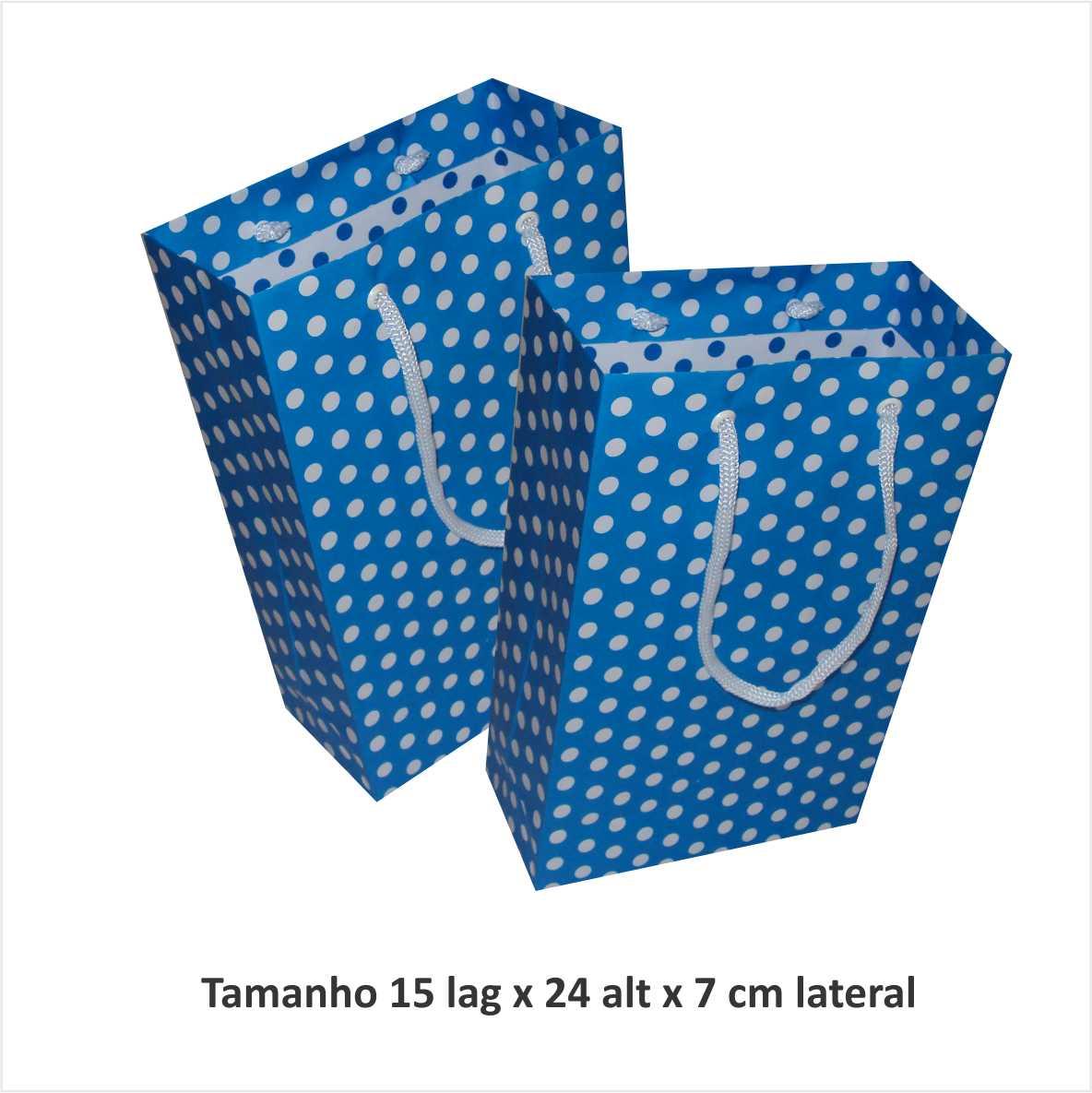 Sacola de papel  (15x24x7 cm) azul de bolinha branca - 10 unidades