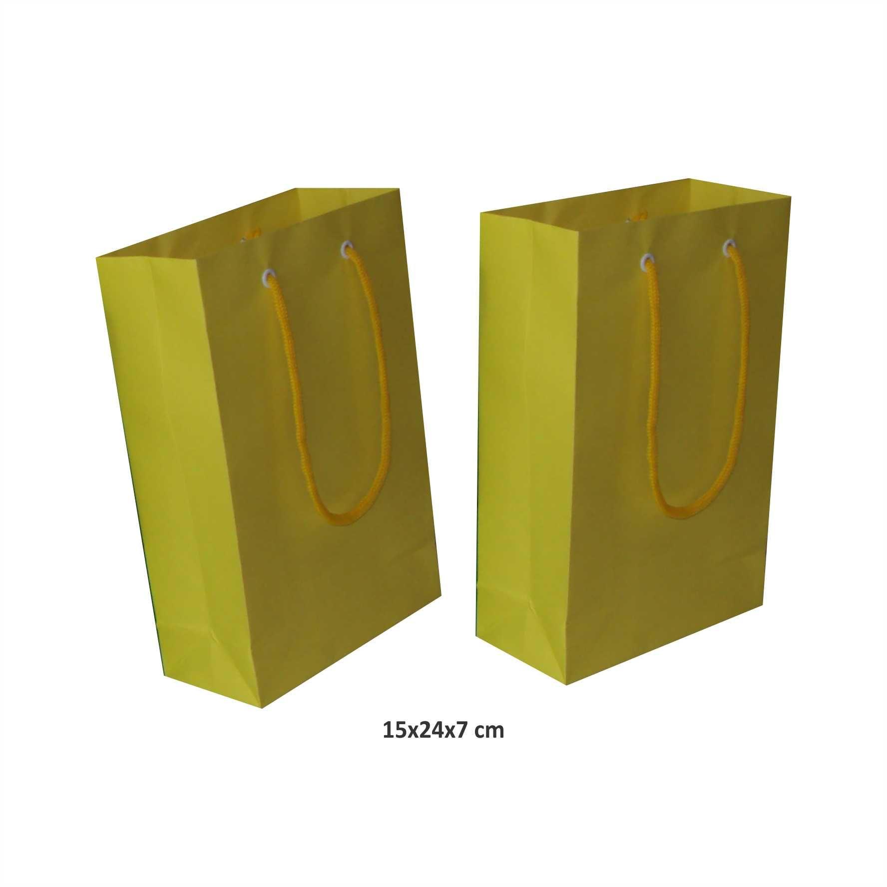 Sacola de papel (15x24x7 cm) pequena - amarela - 10 unidades
