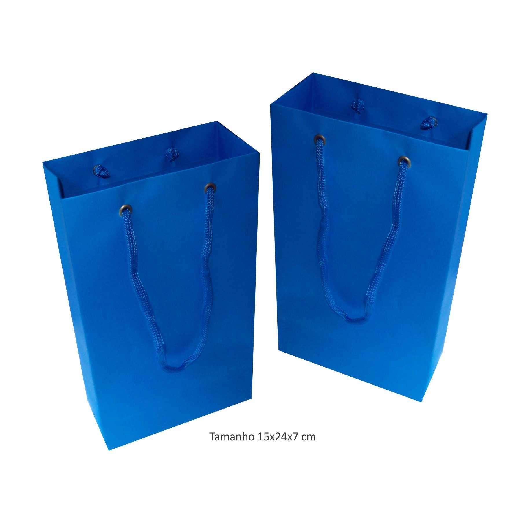 Sacola de papel (15x24x7 cm) pequena - azul turquesa - 10 unidades