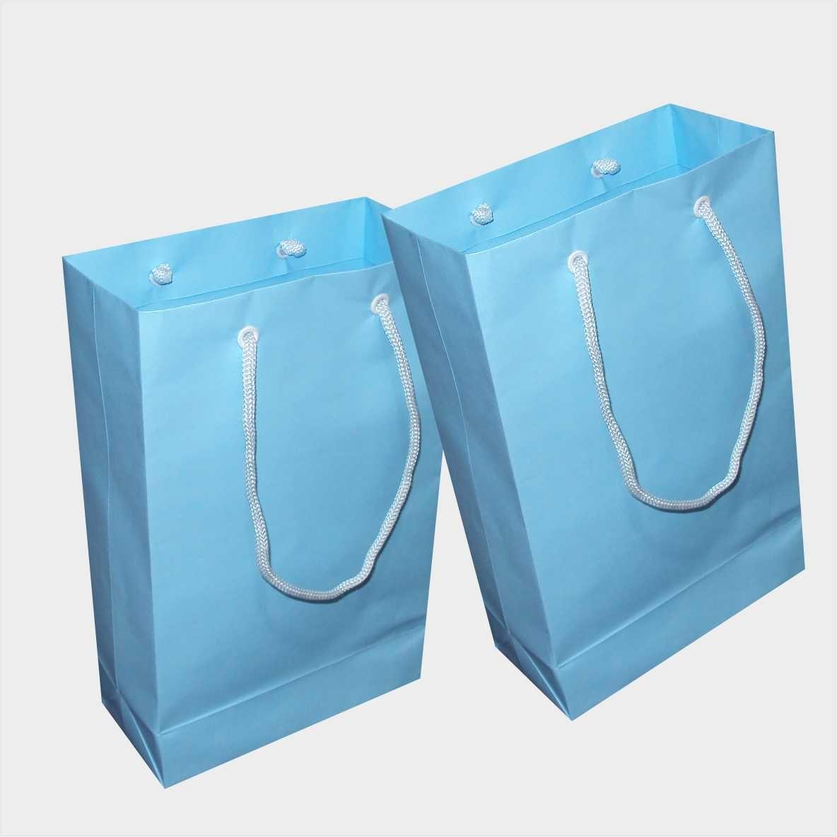 Sacola de papel (15x24x7 cm) pequena - cor azul claro- 10 unidades