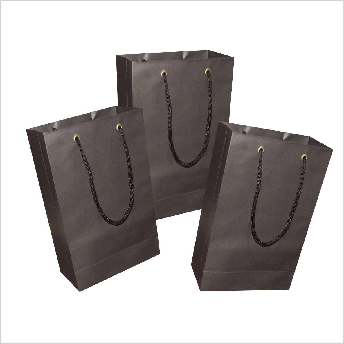 Sacola de papel (15x24x7 cm) pequena - cor preta- 10 unidades