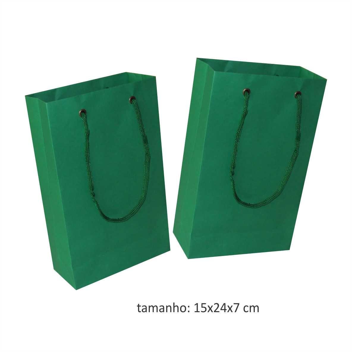 Sacola de papel (15x24x7 cm) pequena - cor verde escuro - 10 unidades