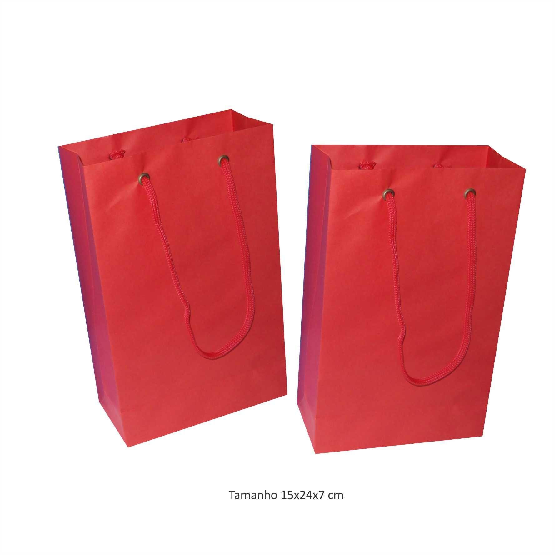 Sacola de papel (15x24x7 cm) pequena - cor vermelha - 10 unidades