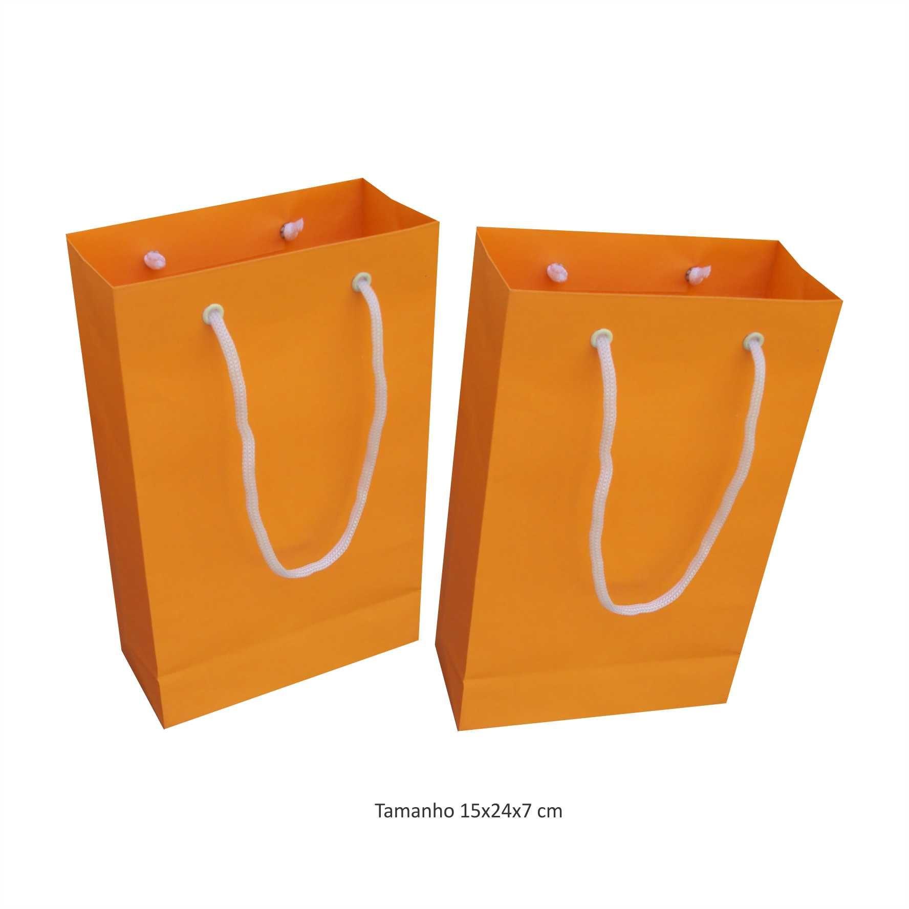 Sacola de papel (15x24x7 cm) pequena - laranja - 10 unidades