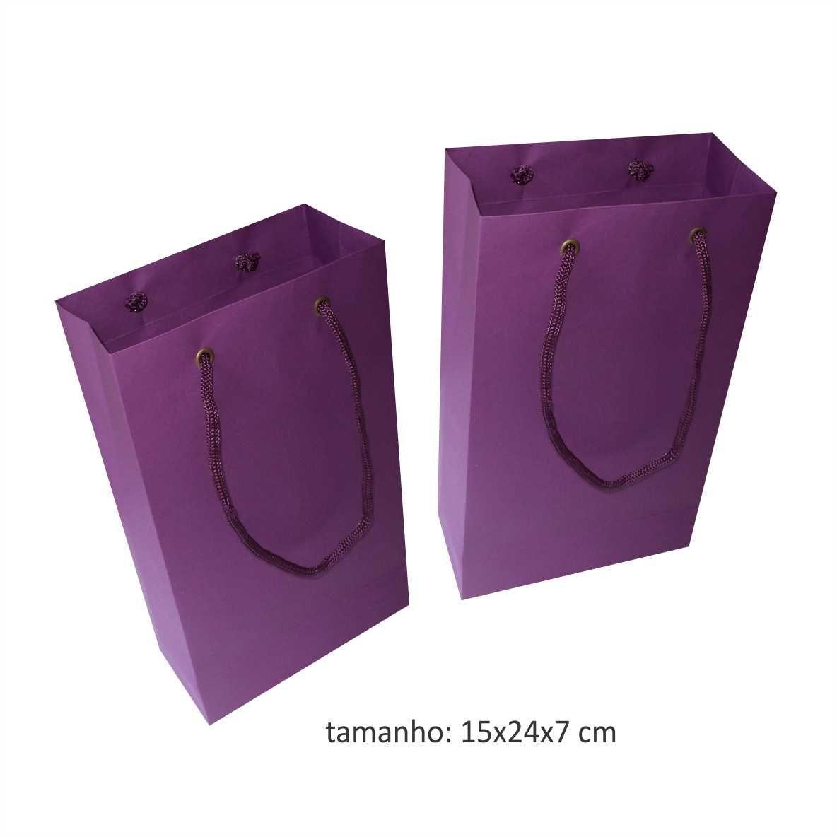 Sacola de papel (15x24x7 cm) pequena - lilás - 10 unidades
