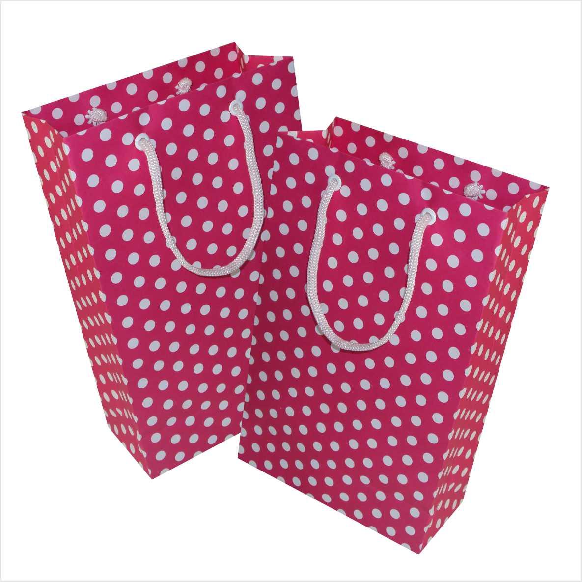 Sacola de papel  (15x24x7 cm) Pink de bolinha branca - 10 unidades