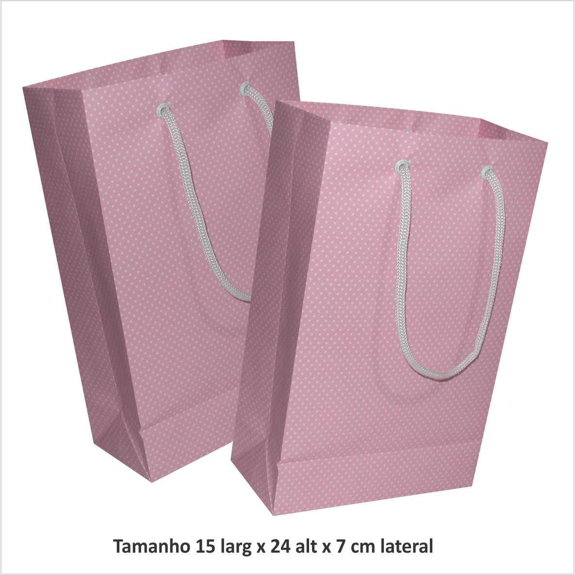 Sacola de papel  (15x24x7 cm) rosa de bolinha branca - 10 unidades