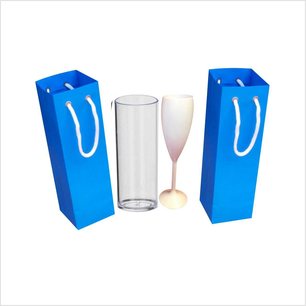 Sacola de papel cor azul turquesa para copo long drink ou taça - 10 unidades