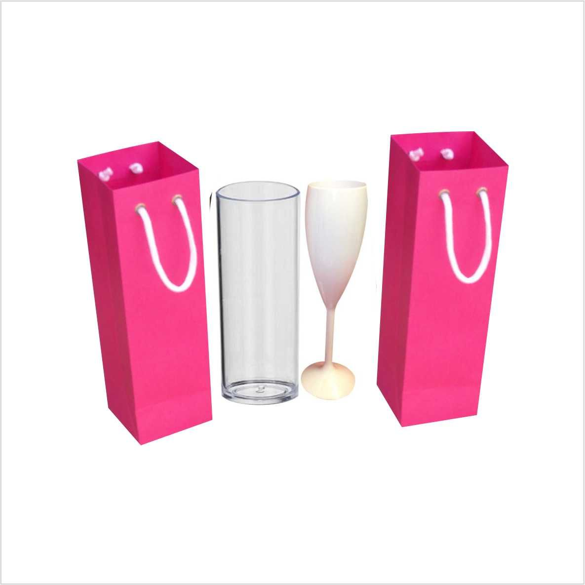 Sacola de papel cor pink para copo long drink ou taça - 10 unidades