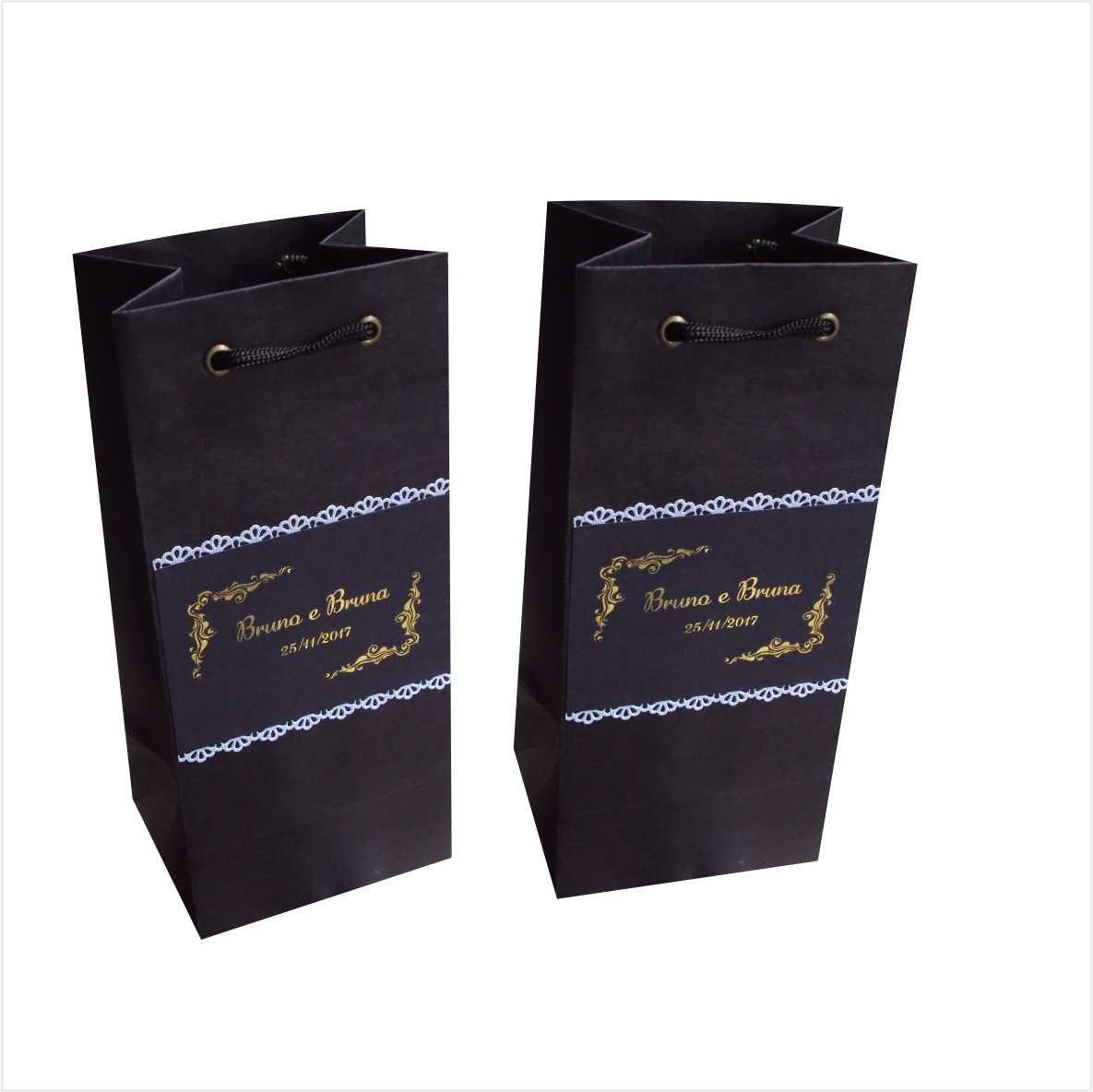 Sacola de papel personalizada - cor preta ideal para mini garrafa (11x24x9 cm) 20 unidades