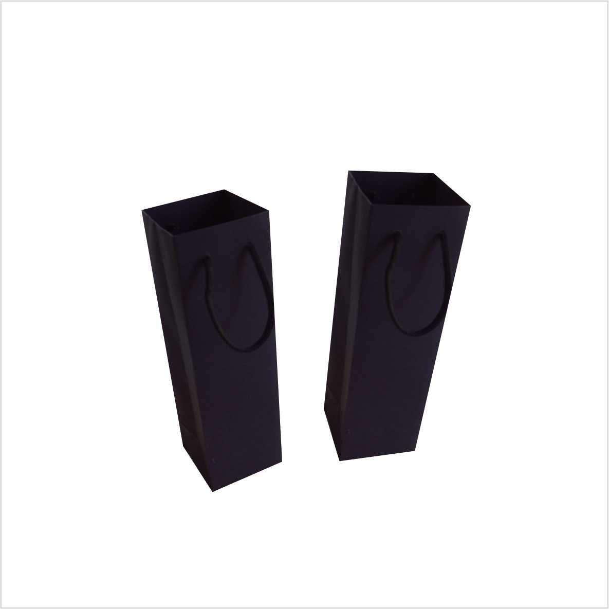 Sacola de papel cor preta para copo long drink ou taça - 10 unidades