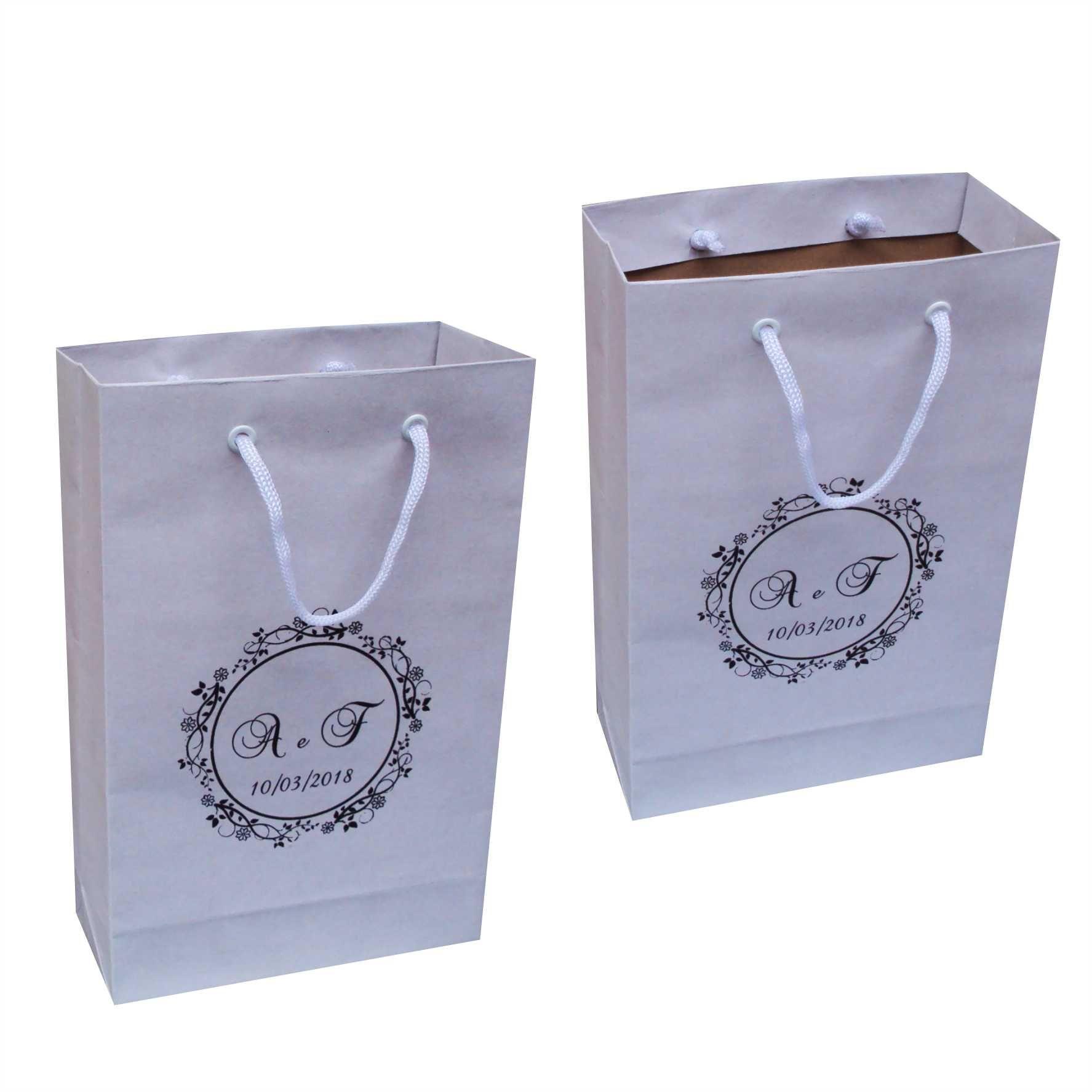 Sacola de papel kraft branco pequena (15x24x7 cm) 100 unidades