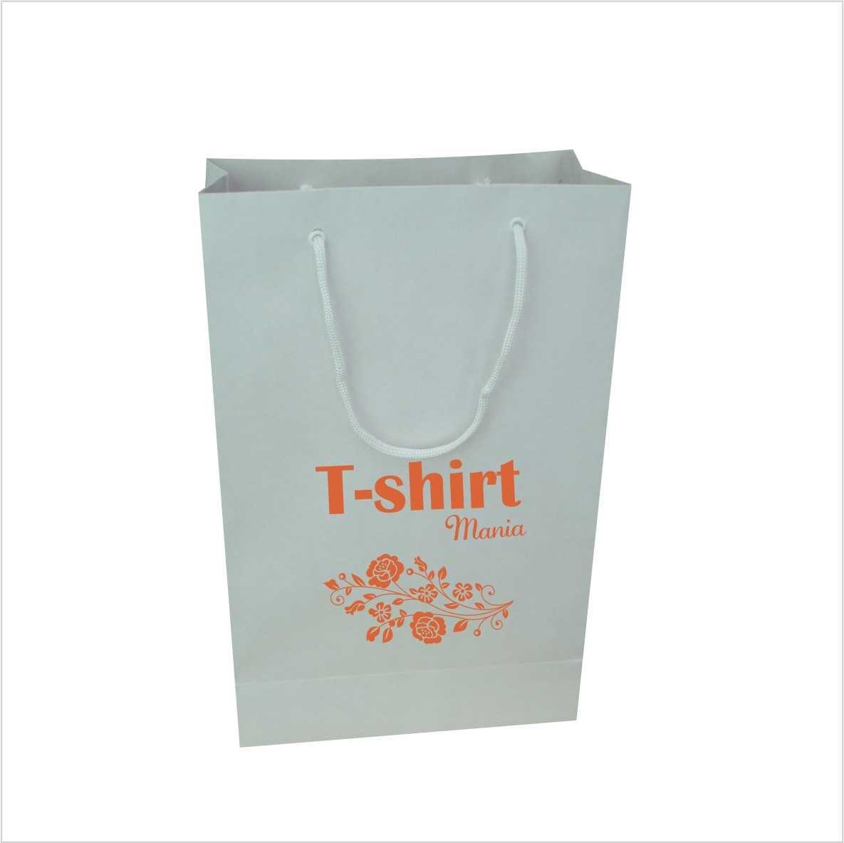 Sacola de papel kraft cor branca média (22x35x10 cm) personalizada - 100 unidades