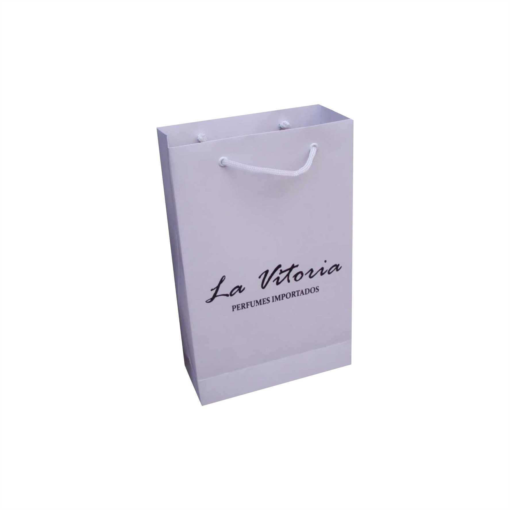 Sacola de papel kraft cor branca - pequena (15x24x7) 100 unidades