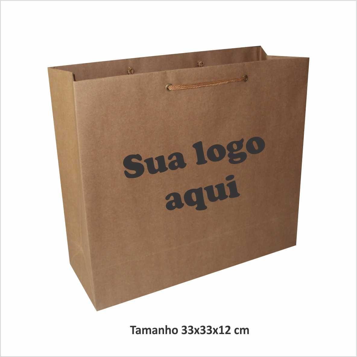 Sacola de papel kraft cor parda (33x33x12 cm) personalizada - 100 unidades
