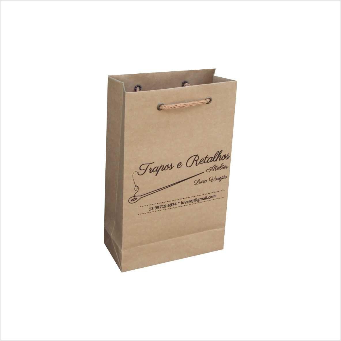 Sacola de papel kraft cor parda - pequena (15x24x7) 100 unidades